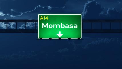 Mombasa Kenya Highway Road Sign at Night