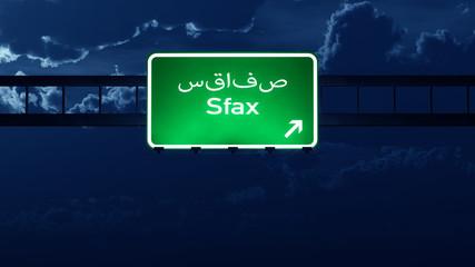Sfax Tunisia Highway Road Sign at Night
