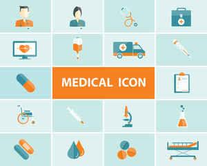 flat medical and health icons vector background
