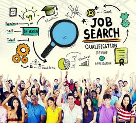Job Search Qualification Resume Recruitment Hiring Concept