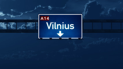 Vilnius Lithuania Highway Road Sign at Night