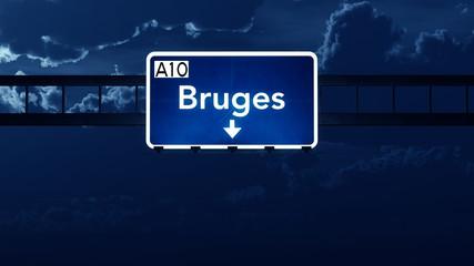 Bruges Belgium Highway Road Sign at Night