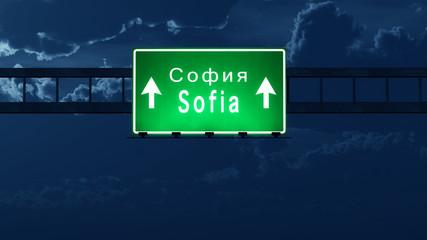 Sofia Bulgaria Highway Road Sign at Night