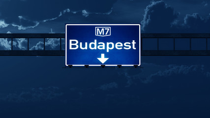 Budapest Hungary Highway Road Sign at Night
