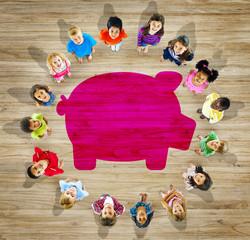Multiethnic Group Children Saving Concept
