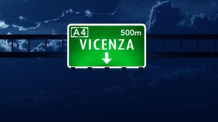 Vicenza Italy Highway Road Sign at Night
