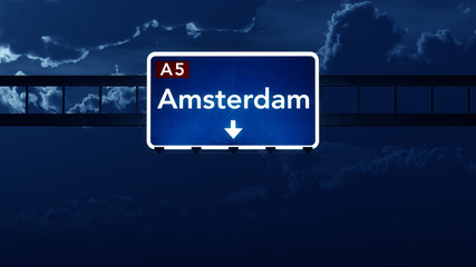 Amsterdam Netherlands Highway Road Sign at Night