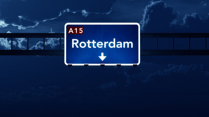Rotterdam Netherlands Highway Road Sign at Night