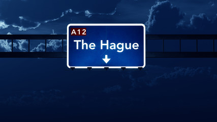 The Hague Netherlands Highway Road Sign at Night