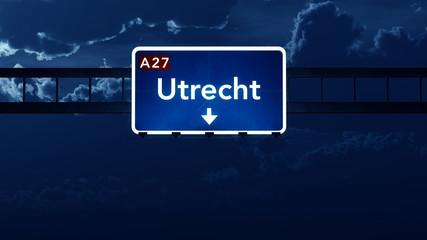 Utrecht Netherlands Highway Road Sign at Night