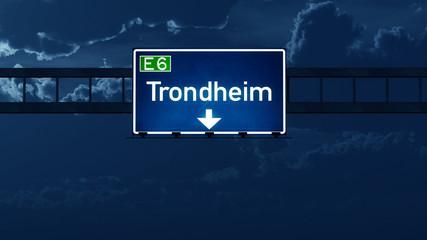 Trondheim Norway Highway Road Sign at Night