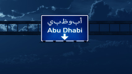 Abu Dhabi UAE Highway Road Sign at Night