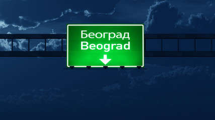 Beograd Serbia Highway Road Sign at Night