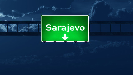 Sarajevo Bosnia and Herzegovina Highway Road Sign at Night