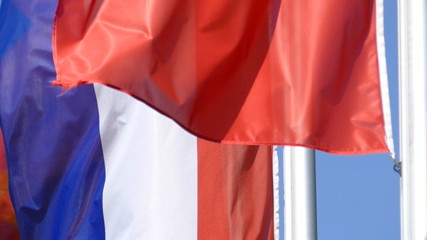 Fahnen europäischer Statten flattern im Wind, Zeitlupe