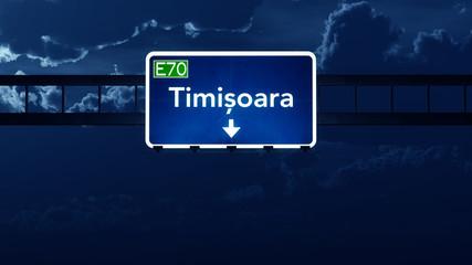 Timisoara Romania Highway Road Sign at Night