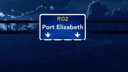 Port Elizabeth South Africa Highway Road Sign at Night