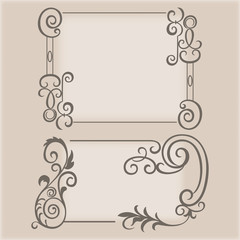 Frame swirling elements ornamental pattern