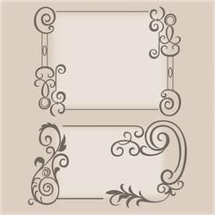 Frame swirling elements ornamental pattern