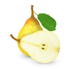 pears isolated on a  white