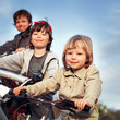 brothers ride on bikes