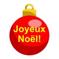 Icono texto Joyeux Noel en bola roja