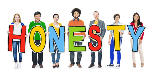Group of Diverse People Holding Honesty