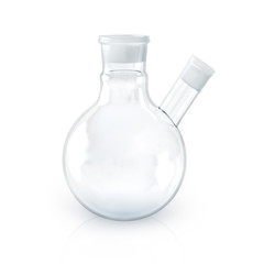 Laboratory object of chemistry glassware with two hole on white