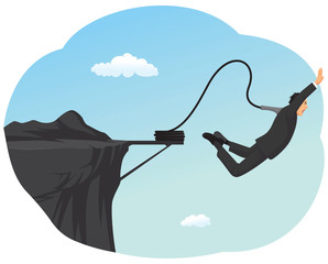 Businessman is bungee jumping off a cliff
