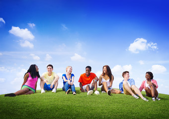 Group Friends Outdoors Diversed Cheerful Fun Team Concept