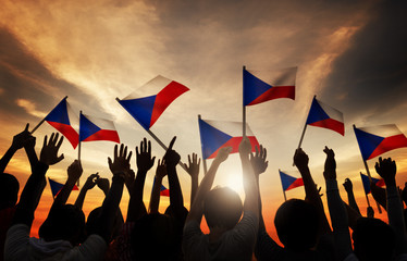 Silhouettes People Holding Flag Philippines Concept