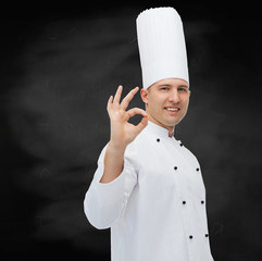 happy male chef cook showing ok sign