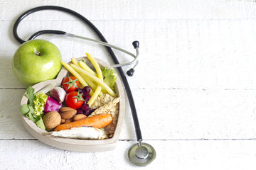 Healthy food in heart diet abstract concept
