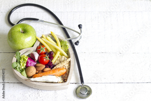 Healthy food in heart diet abstract concept - 81854075