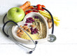 Leinwandbild Motiv Healthy  food in heart diet abstract concept