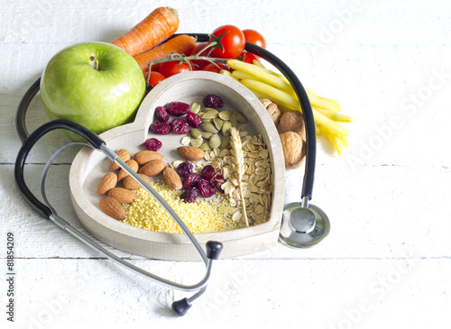 Healthy  food in heart diet abstract concept Photo by udra11