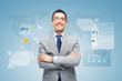 happy businessman with virtual screens