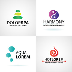 Set of natural spa yoga wellness meditation massage logo