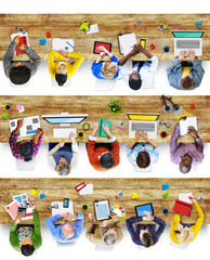 Group of People Using Digital Devices in Photo and Illustration
