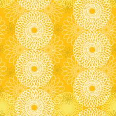 ひまわり シームレスパターン 黄色