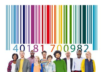 People Togetherness Team Bar Code Concept