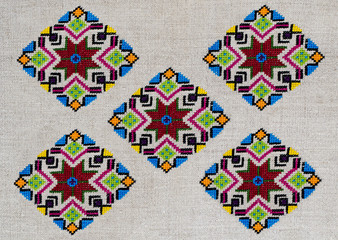 Ornament- ethnic Ukrainian embroidery on cannabic canvas