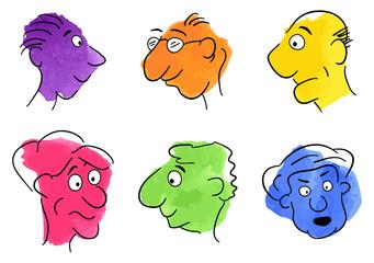 gezeichnete Gesichter auf Aquarell Flecken