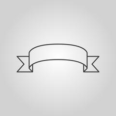 The ribbon icon. Banner symbol. Flat