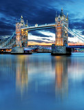 Tower Bridge in London, UK, by night - 81855658