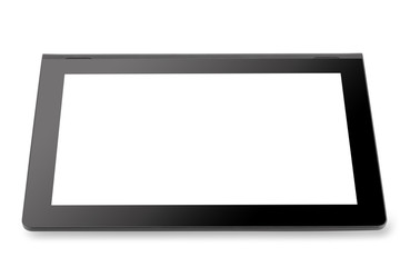 Black tablet computer with blank screen