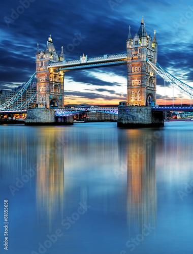 Tower Bridge in London, UK, by night