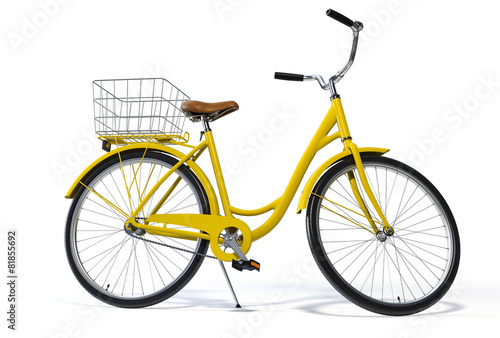 Fotobehang Fiets Yellow Vintage Style Bike Side View
