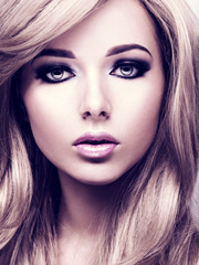 Portrait of pretty young woman with bright makeup. Beautiful  br