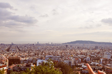 Retro look View of Barcelona